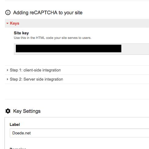 recaptcha Site Keys
