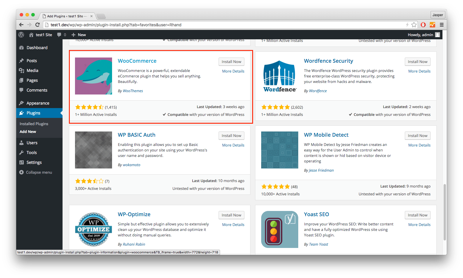 installing WooCommerce Plugin