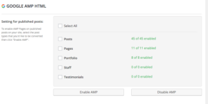 Page Frog AMP Settings