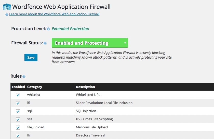 Wordfence Web Application Firewall