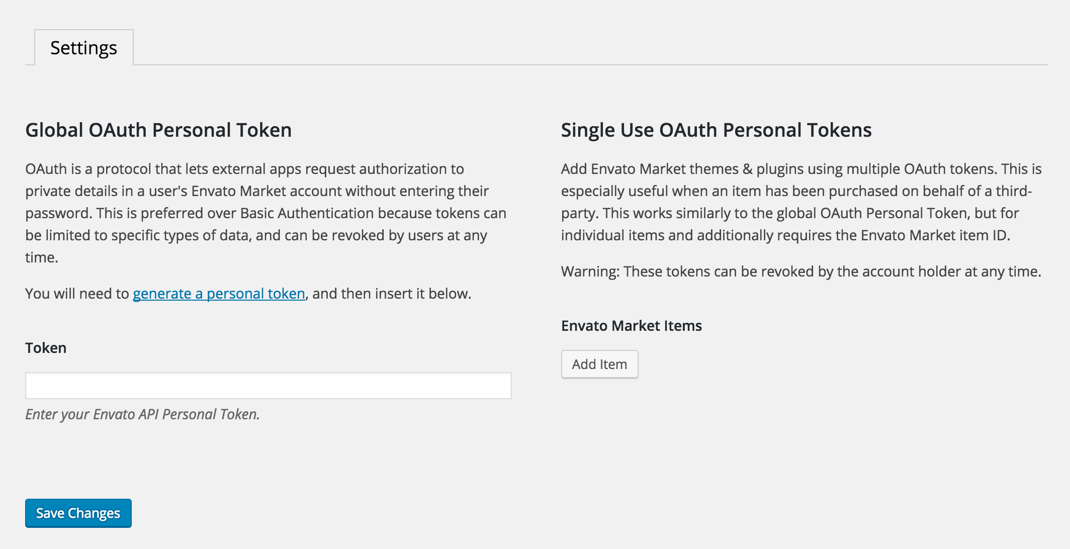 Global OAuth Personal Token
