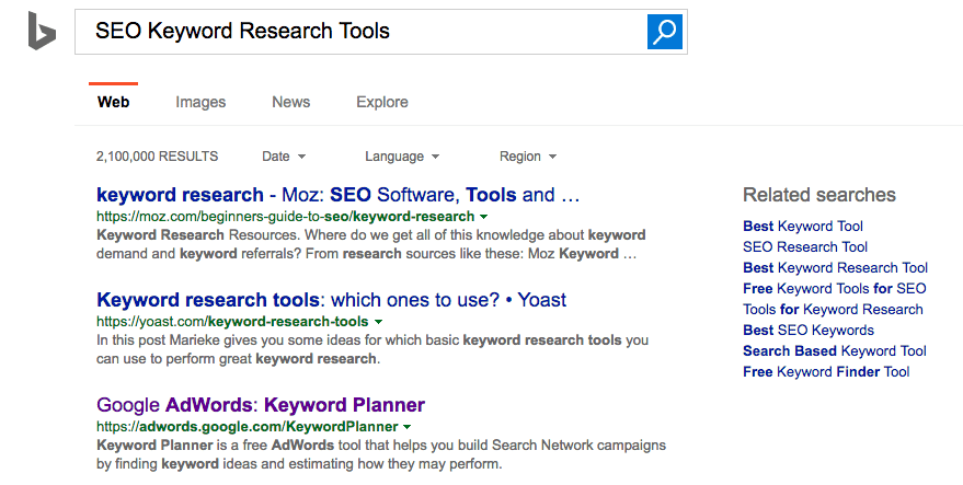 Bing Keyword Research