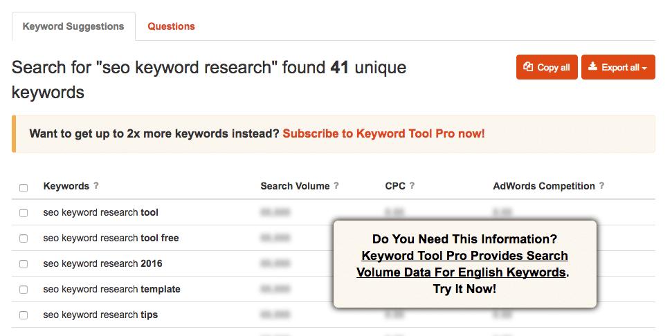 Keywordtool Results
