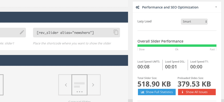 Performance and SEO Optimization tab