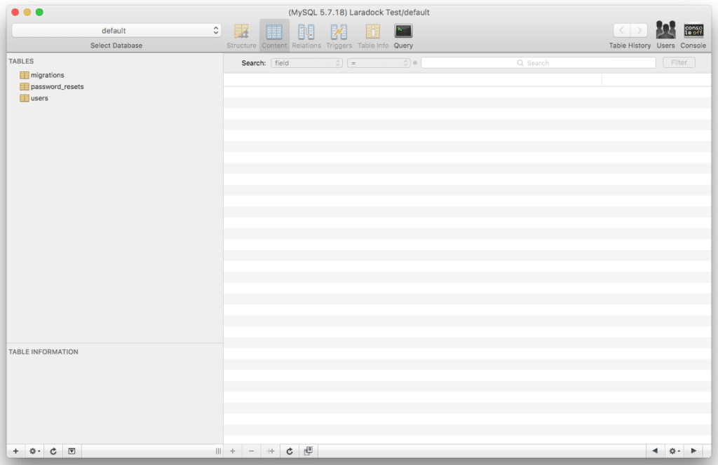 Sequel Pro Laradock Database