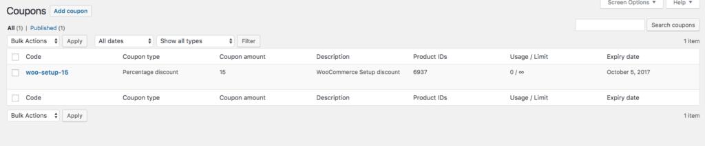 WooCommerce Coupons List