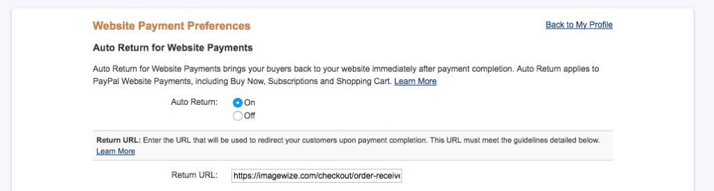 PayPal Auto Return