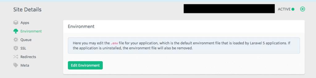 Laravel Forge Site Details
